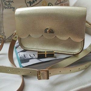 Anthropology Small Cloud Bag ,crosbody ,gold color